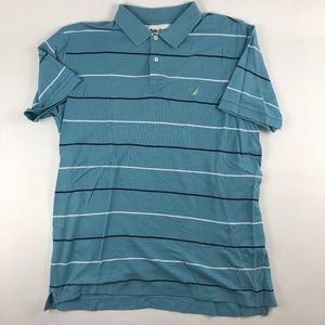 Nautica True Deck Shirt Blue Striped Polo Shirt XL